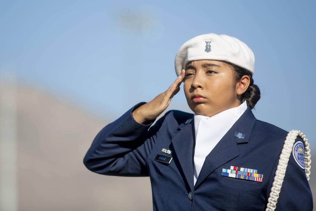 Cadet Staff Sgt. Nicole Macario, 15, during Palo Verde High School's Air Force JROTC's annual r ...