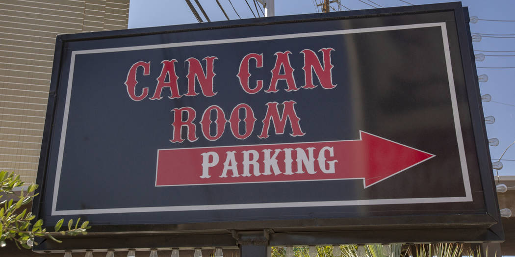 The parking sign of the Can Can Room is seen on Wednesday, Sept. 11, 2019, in Las Vegas. (Micha ...