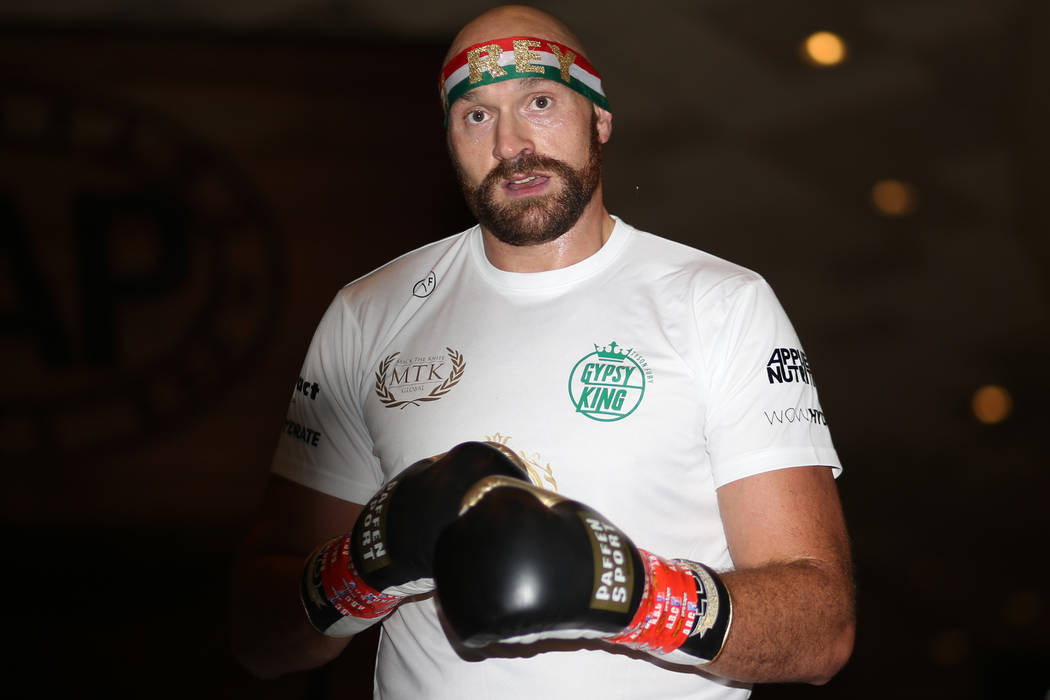 Heavyweight fighter Tyson Fury during an open workout at the MGM Grand hotel-casino in Las Vega ...
