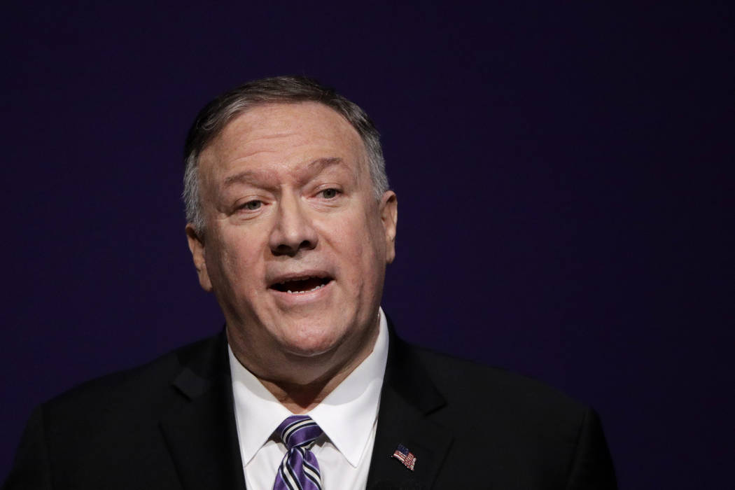 Secretary of State Mike Pompeo gives a speech at the London Lecture series at Kansas State Univ ...