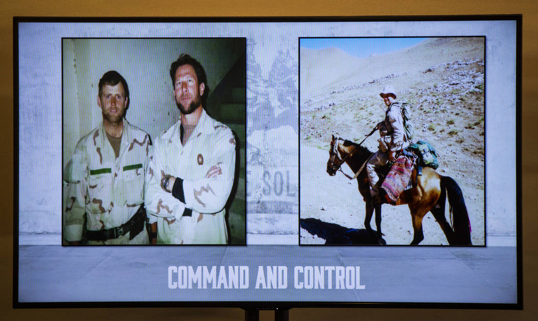 "An image of Mark Nutsch, commander of ""Horse Soldiers"" Special Forces unit, left, wit ..."