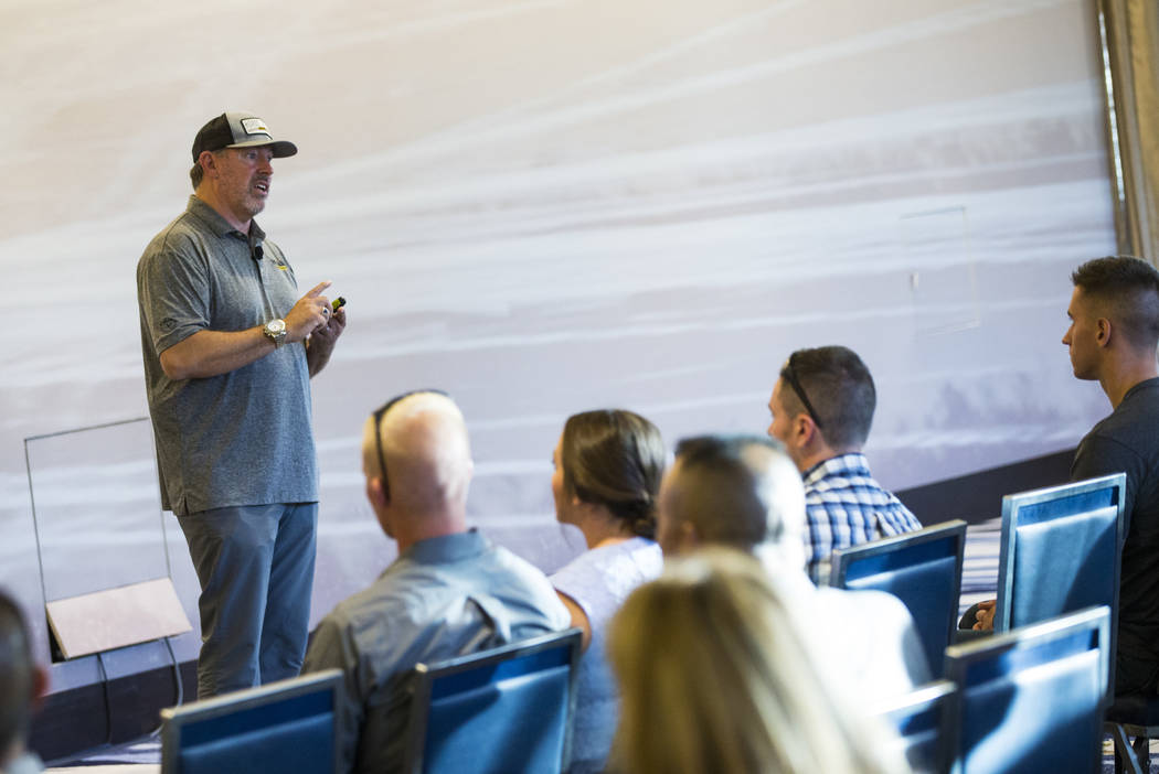 Retired U.S. Army Master Sgt. Scott Neill, who co-founded the American Freedom Distillery, spea ...