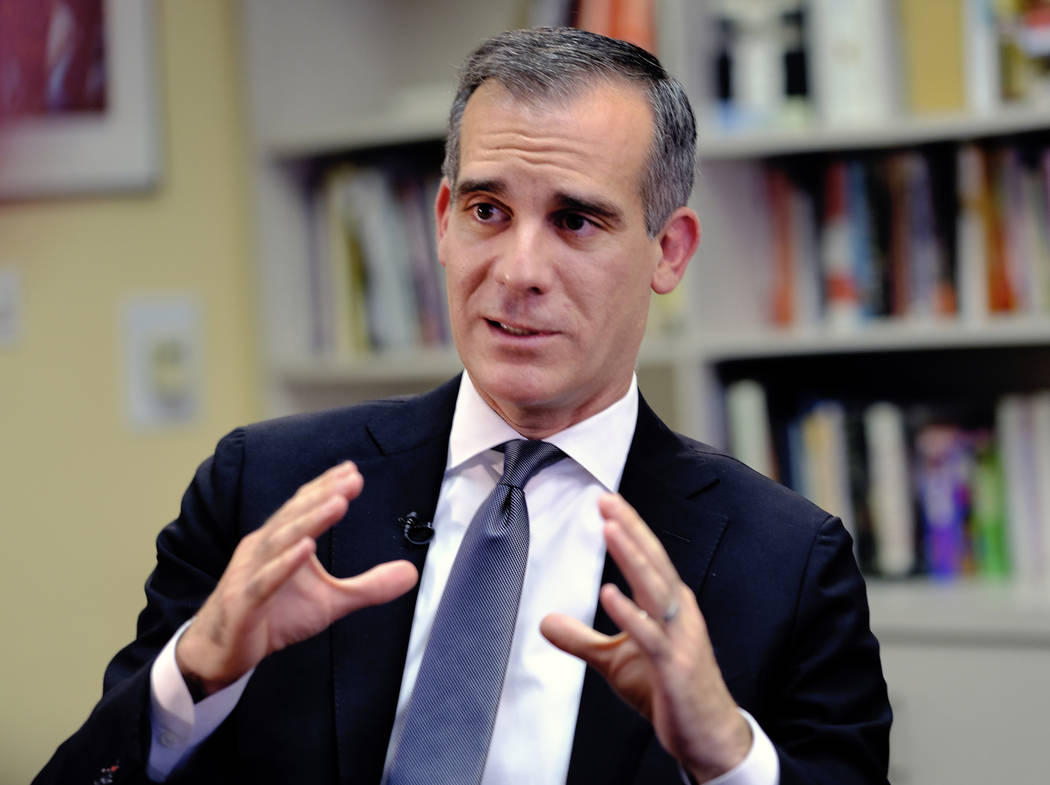 FILE - In this Aug. 16, 2018 file photo Los Angeles Mayor Eric Garcetti talks during an intervi ...