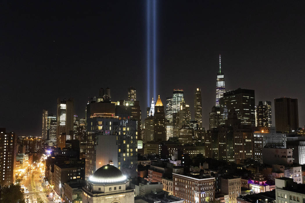 The Tribute in Light rises above the lower Manhattan skyline, Tuesday, Sept. 10, 2019 in New Yo ...