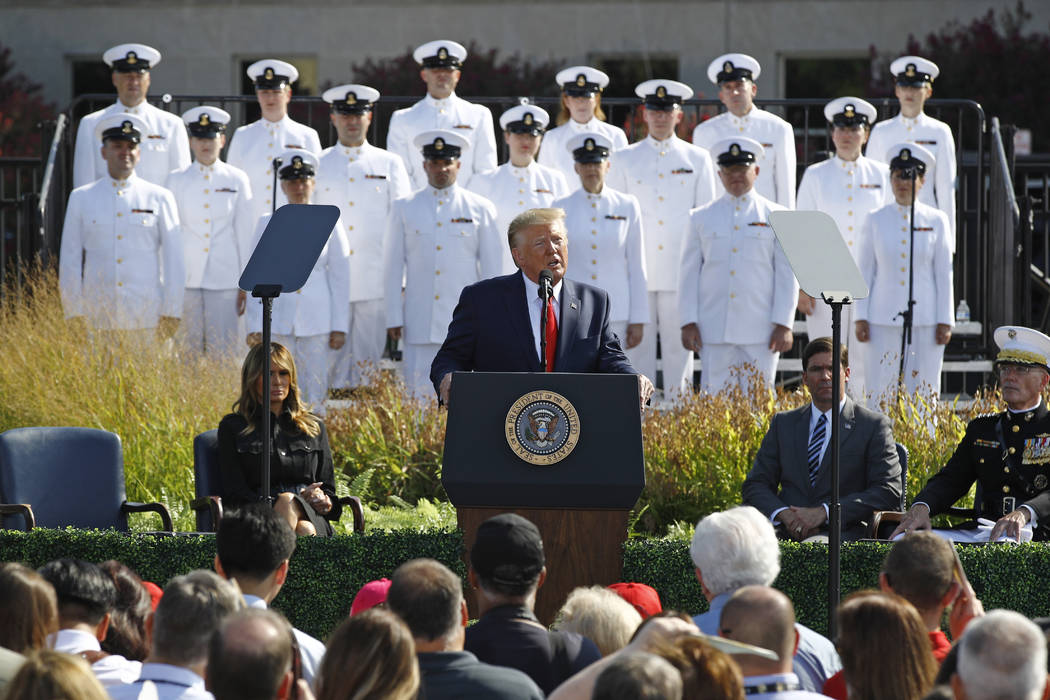 President Donald Trump speaks during a ceremony in observance of the 18th anniversary of the Se ...