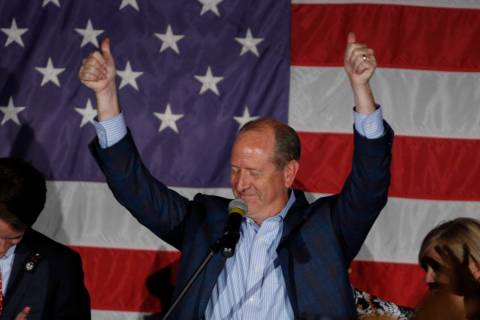 North Carolina 9th district Republican congressional candidate Dan Bishop celebrates his victor ...