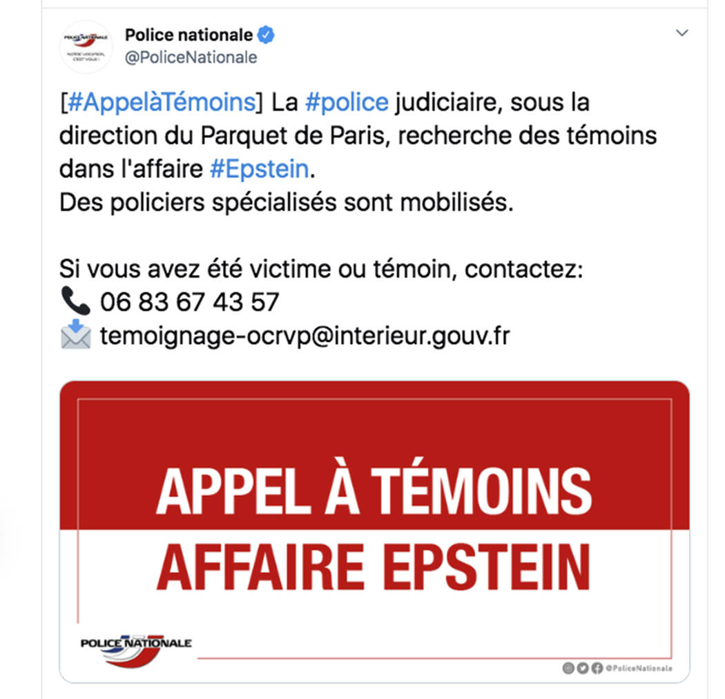 This police appeal published Wednesday, Sept. 11, 2019 on the French National Police Twitter ac ...