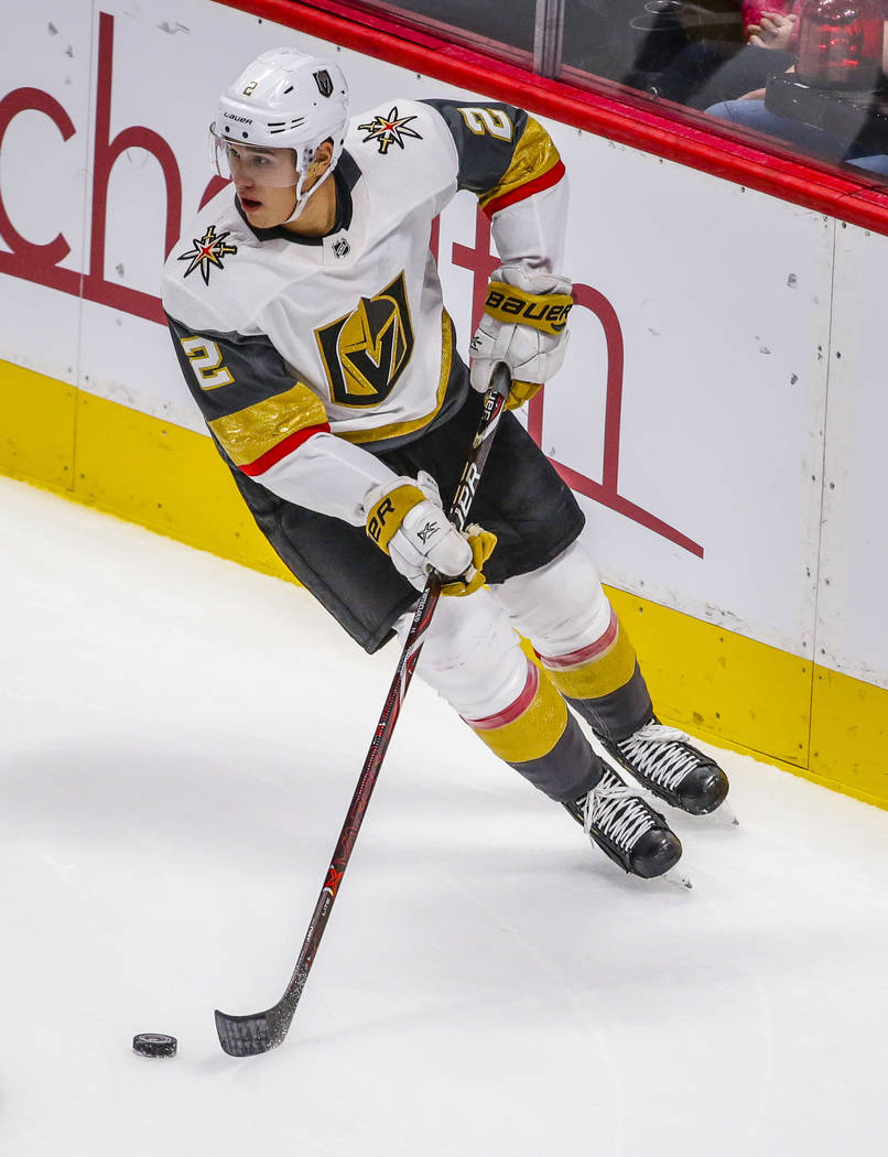 Vegas Golden Knights defenseman Zach Whitecloud (2) skates during the second period of a presea ...