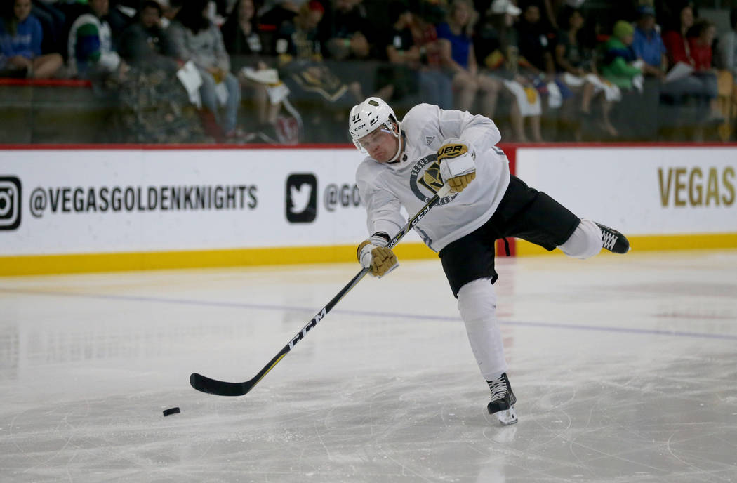 Vegas Golden Knights defender Reid Duke shoots during the first day of development camp at City ...
