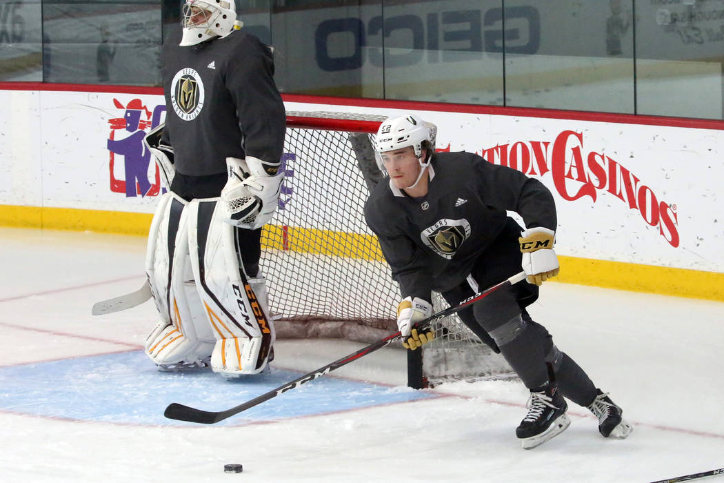 Vegas Golden Knights prospect Dylan Coghlan skates in the timed drill during the third day of G ...