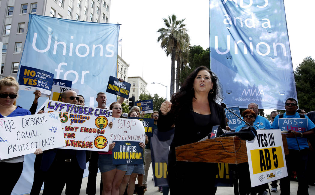 Assemblywoman Lorena Gonzalez, D-San Diego, speaks at rally calling for passage of her measure ...