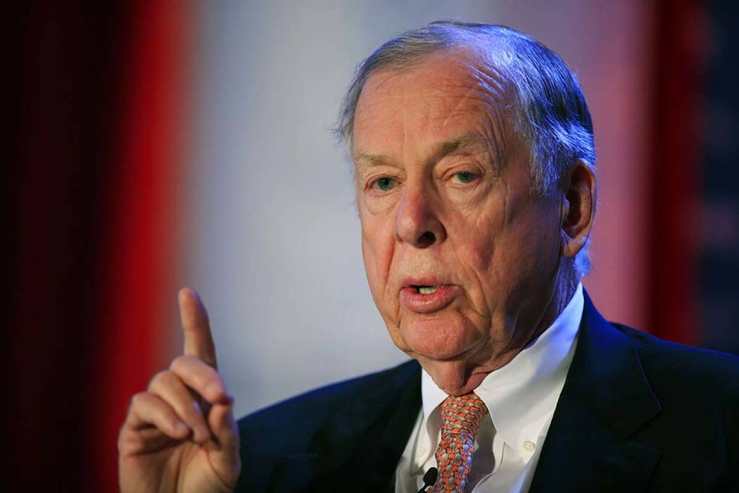 In a June 15, 2009, file photo, T. Boone Pickens, president of BP Capital Group, speaks at Time ...