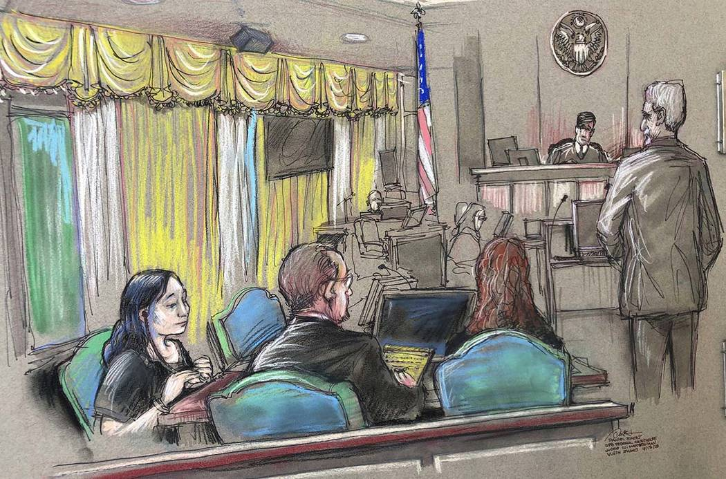 In an April 15, 2019, file court sketch, Yujing Zhang, left, a Chinese woman charged with lying ...