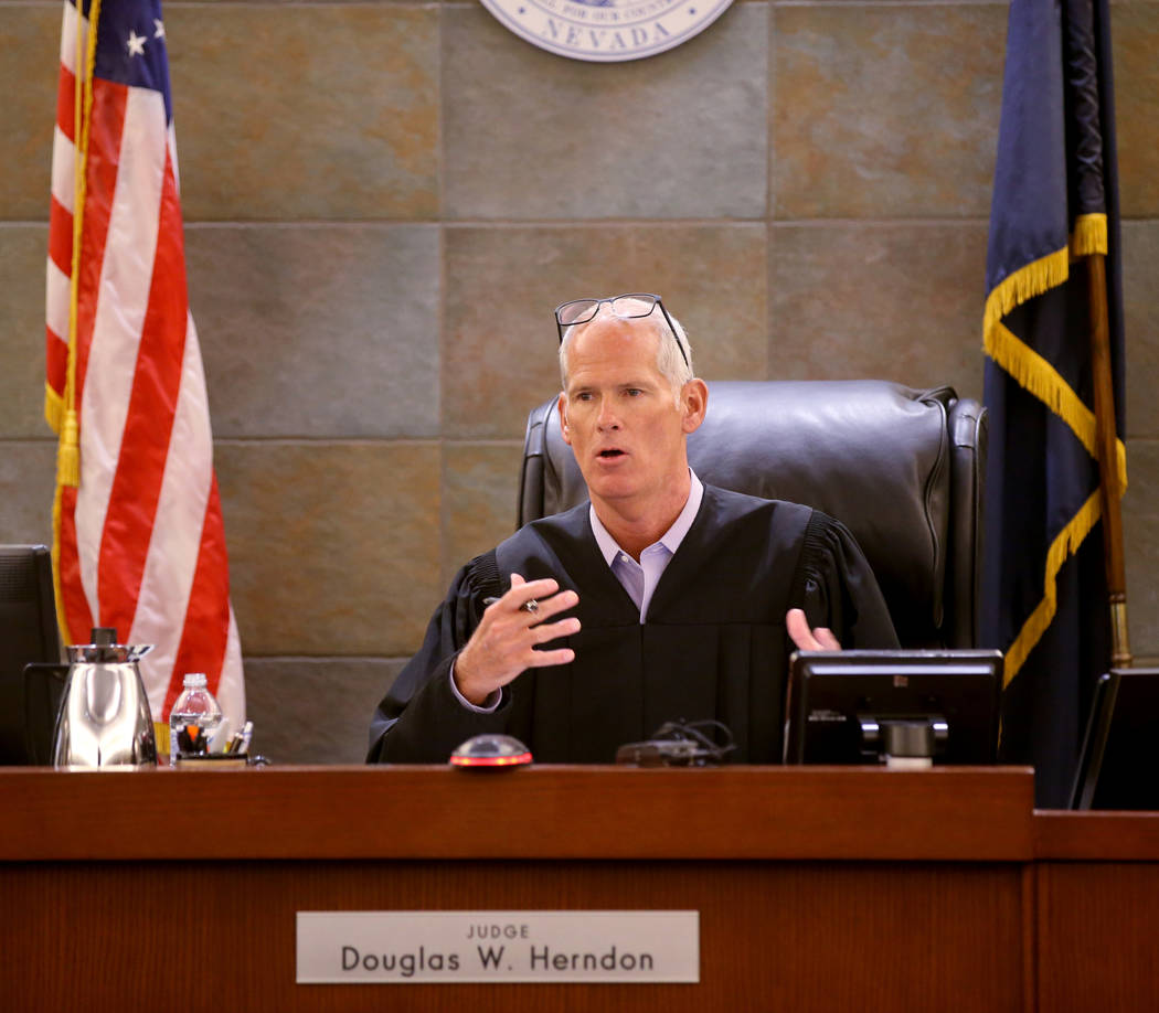 Judge Douglas Herndon presides in court at the Regional Justice Center in Las Vegas Wednesday, ...