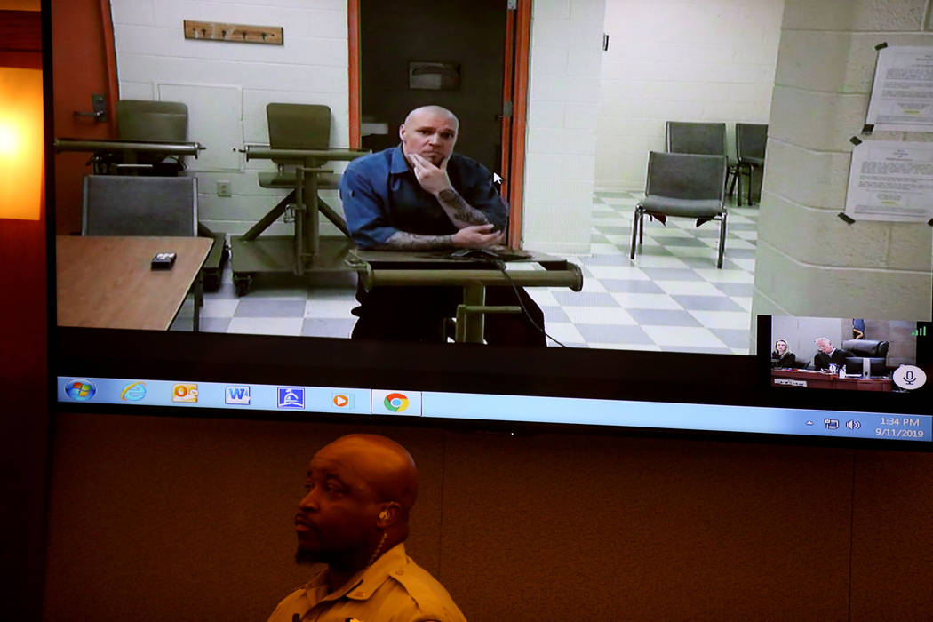 "Robert ""Coco"" Standridge, 37, appears in court via video at the Regional Justice Cent ..."