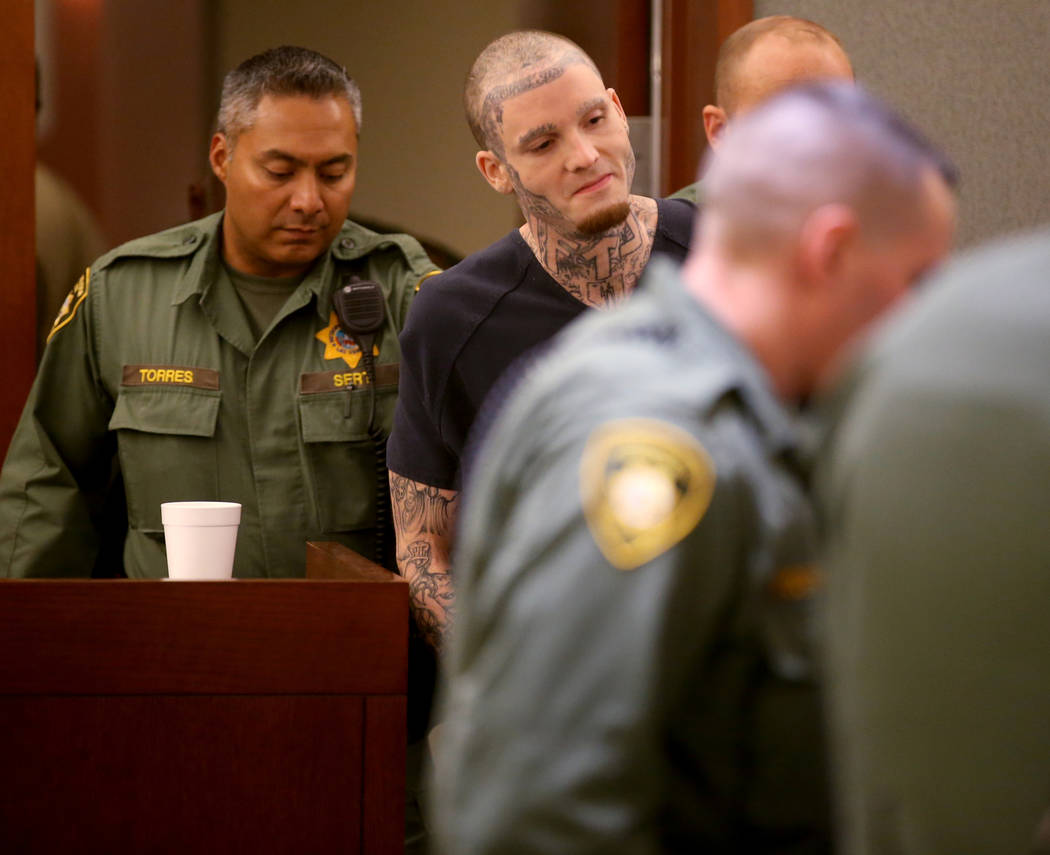 "Stephen ""Skitzo"" Giles appears in court at the Regional Justice Center in Las Vegas W ..."