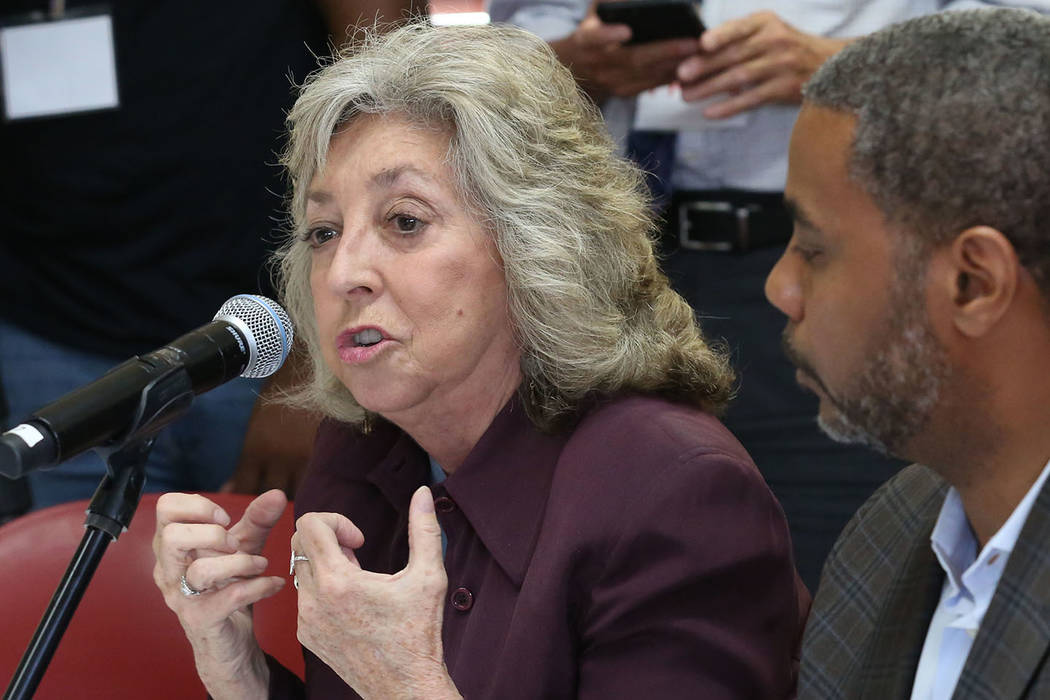U.S. Rep. Dina Titus, D-Nev., speaks during a roundtable discussion with gun violence survivors ...