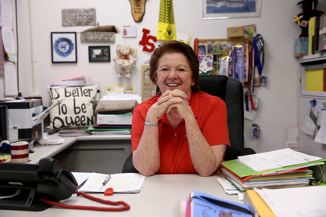 Dottie Frank, an administrative school secretary at Indian Springs School, in her office Wednes ...