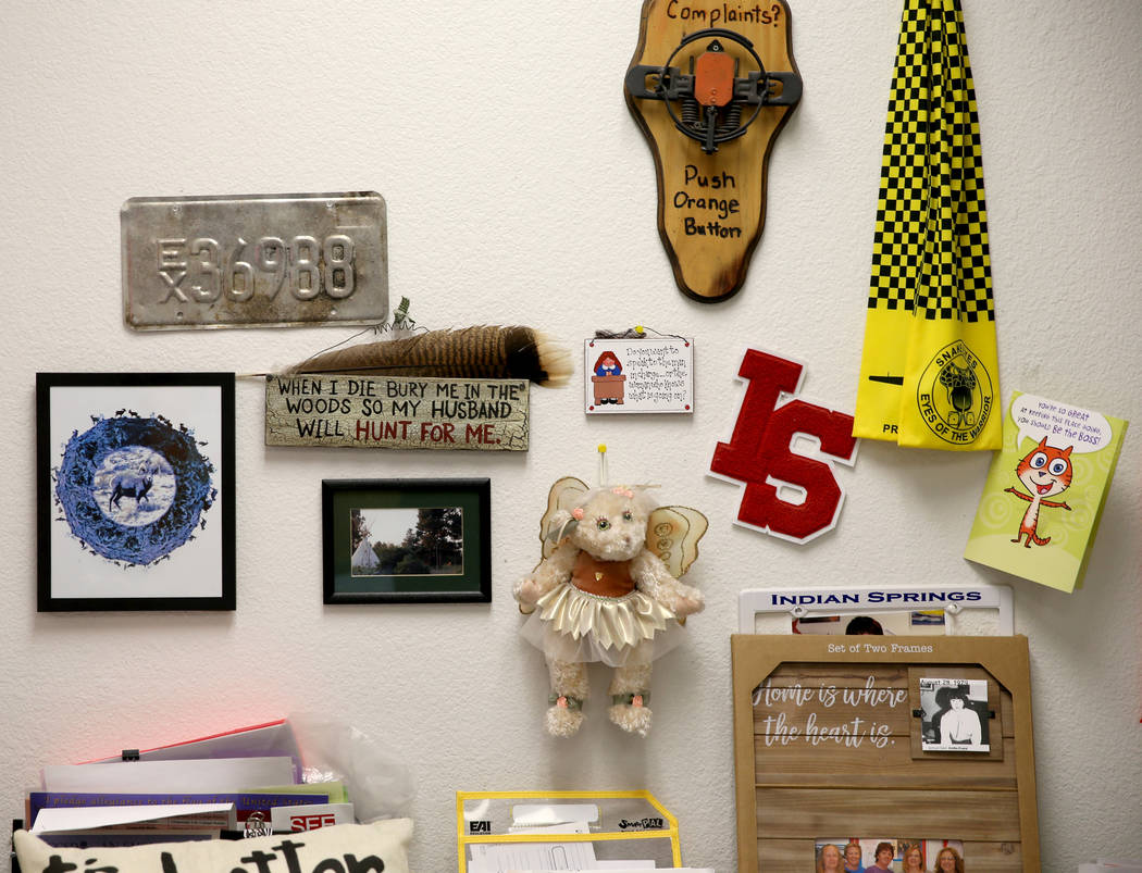 Memorabilia in the office of Dottie Frank, an administrative school secretary at Indian Springs ...