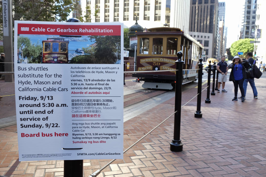 A sign on California Street alerts riders of an upcoming cable car shut down Wednesday, Sept. 1 ...