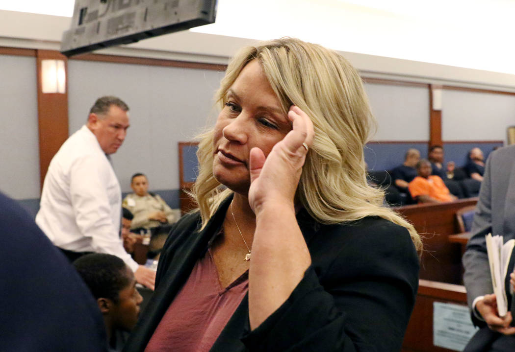 Shelly Calderon leaves the courtroom after her initial arraignment at Regional Justice Center o ...