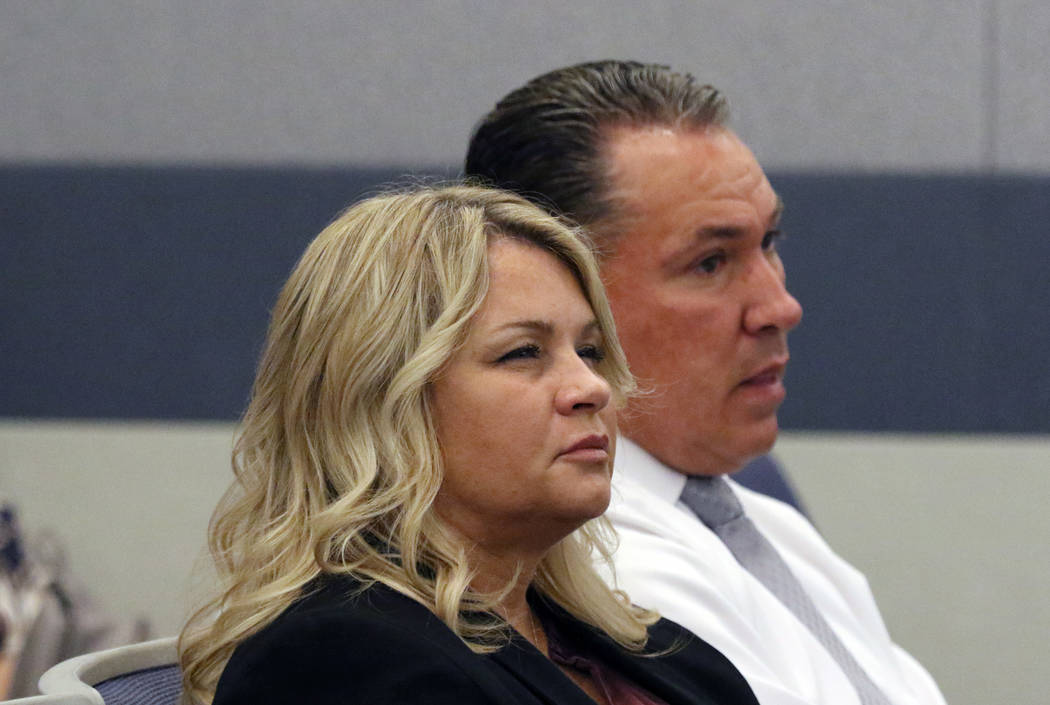 Shelly Calderon appears in court during her initial arraignment at Regional Justice Center on W ...