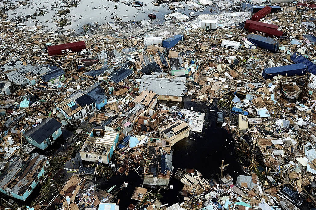 Extensive damage and destruction in the aftermath of Hurricane Dorian is seen in an area called ...