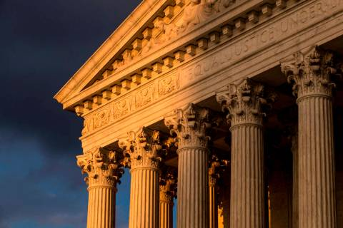 FILE - In this Oct. 10, 2017, file photo, the Supreme Court in Washington is seen at sunset. Th ...