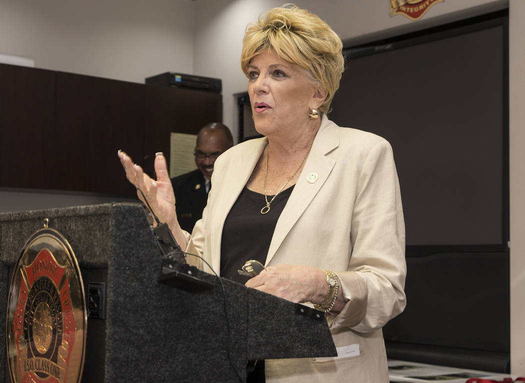 Las Vegas Mayor Carolyn Goodman speaks during an event to announce the assignment of a therapy ...