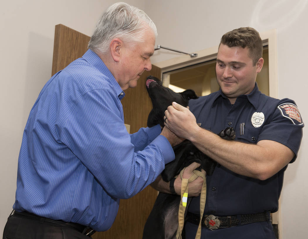 Gov. Steve Sisolak, left, pets a black lab puppy named Blaze, held by Las Vegas Fire and Rescue ...