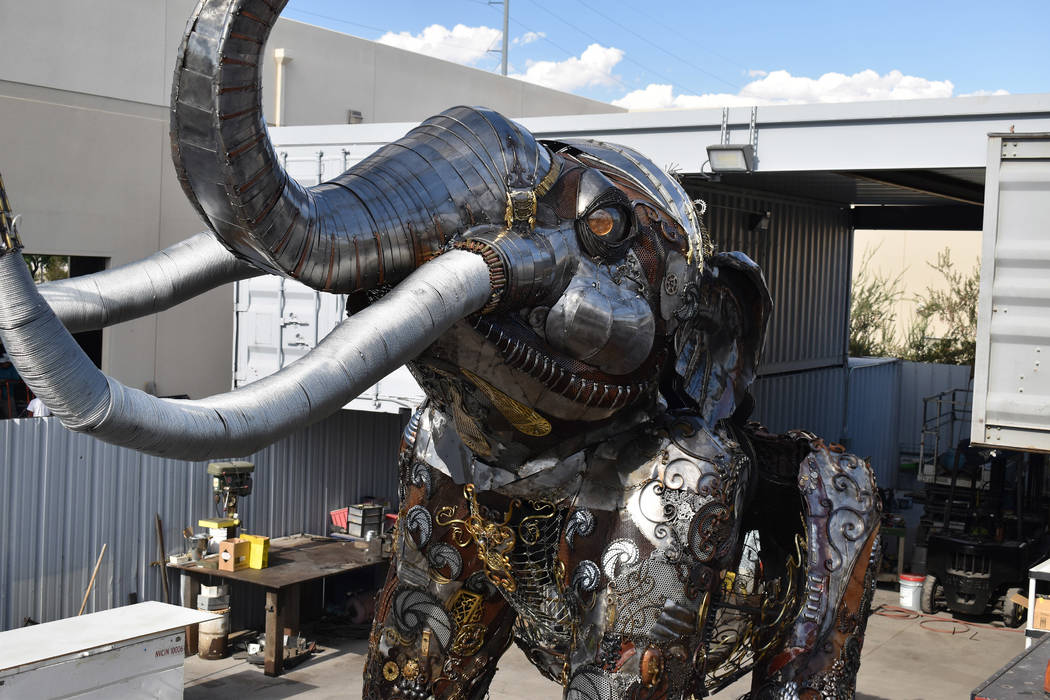 """Tahoe Mack's """"Monumental Mammoth"""" will eventually be permanently installed at Tule Springs."""