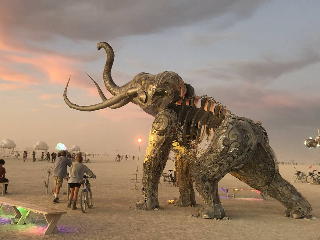 """Tahoe Mack's """"Monumental Mammoth"""" will eventually be permanently installed at Tule Springs. (Da ..."""