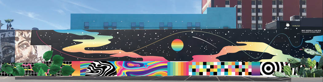 Digital mockup of Eric Vozzola's mural for Life is Beautiful 2019