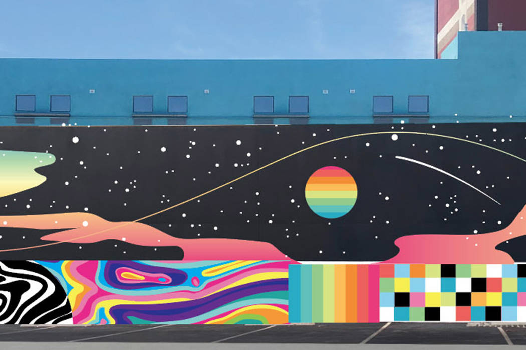 Digital mockup of Eric Vozzola's mural for Life is Beautiful 2019.
