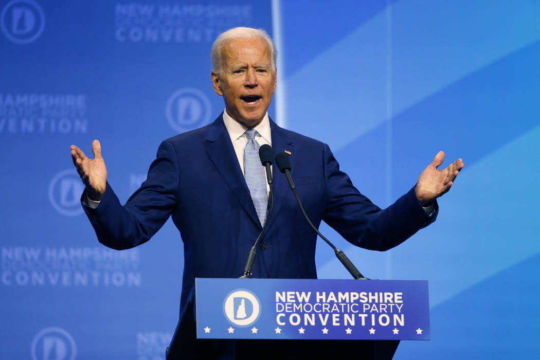 Democratic presidential candidate former Vice President Joe Biden speaks during the New Hampshi ...