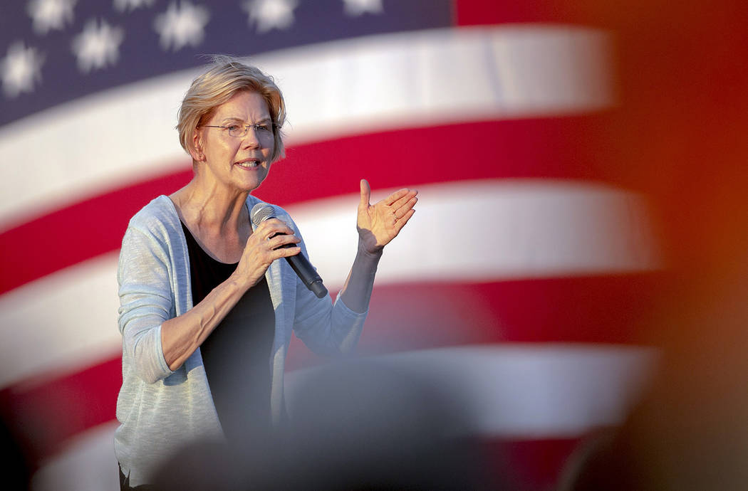 Democratic presidential candidate Elizabeth Warren, D-Mass., speaks during a rally on Tuesday, ...