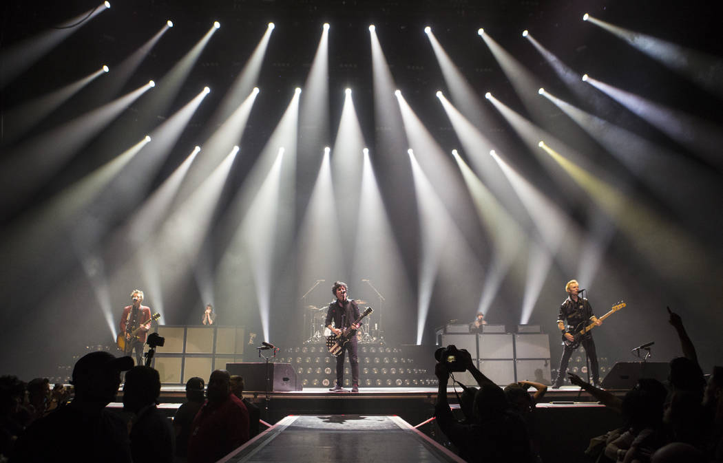 Green Day performs at the MGM Grand Garden Arena in Las Vegas, April 7, 2017. (Chase Stevens/La ...