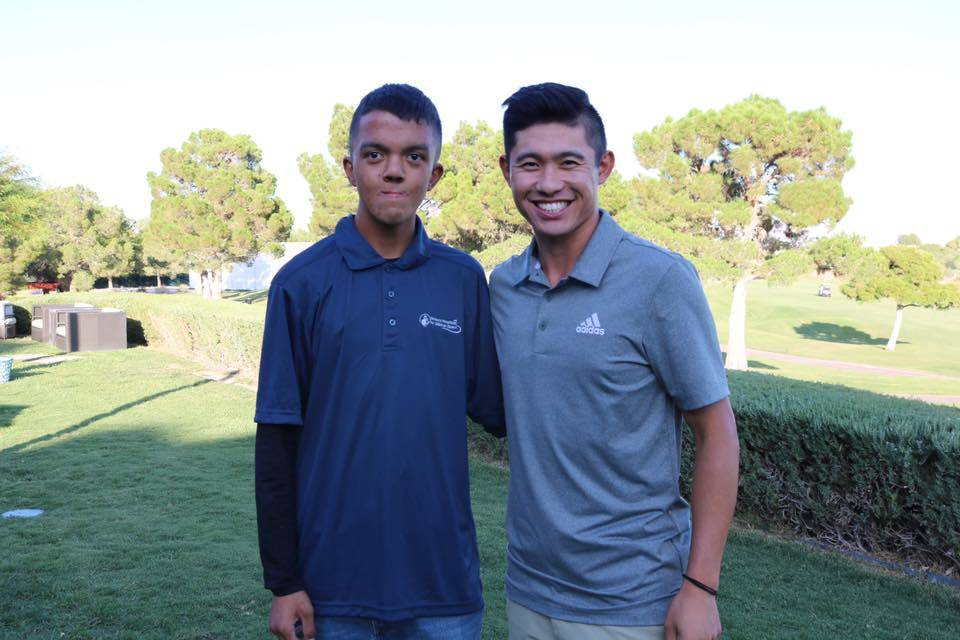 Collin Morikawa (right), an up and coming PGA Tour star and new Las Vegas resident, is shown wi ...