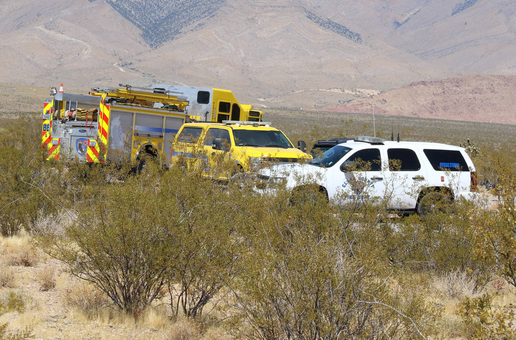 Emergency vehicles are seen near Goodsprings, southwest of Las Vegas, where a hot air balloon c ...