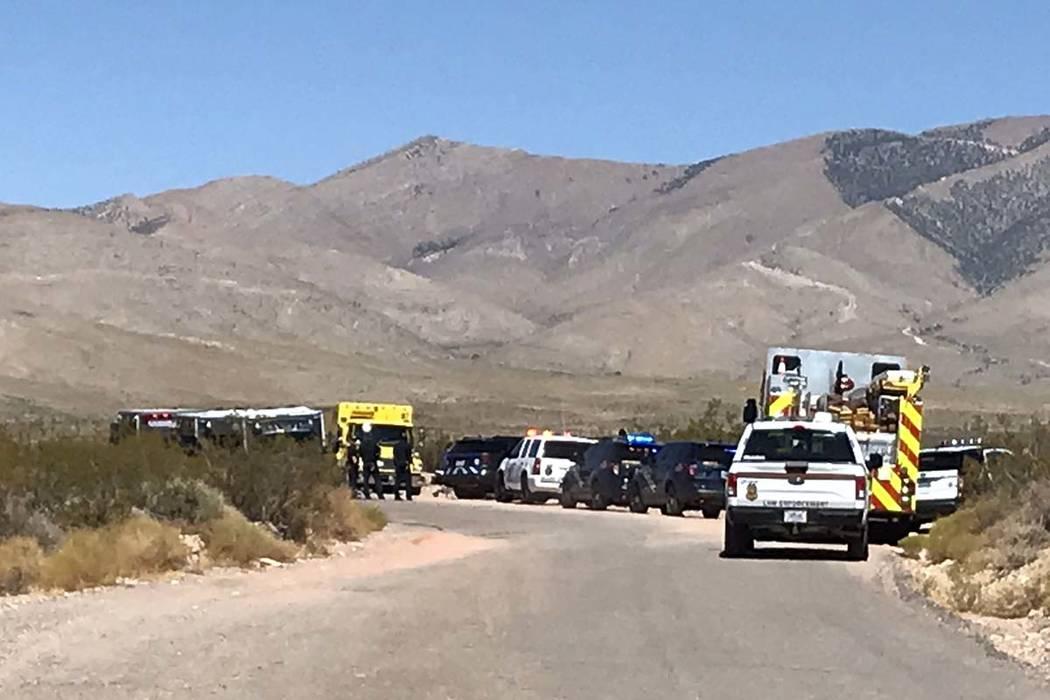 A hot air balloon crashed near Goodsprings, southwest of Las Vegas, Thursday morning. (Max Mich ...