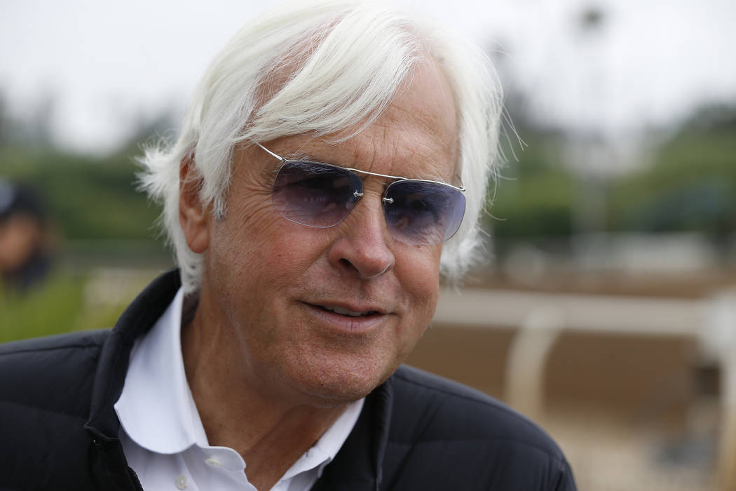 In this May 24, 2018, photo, Hall of Fame trainer Bob Baffert takes questions about horse Justi ...