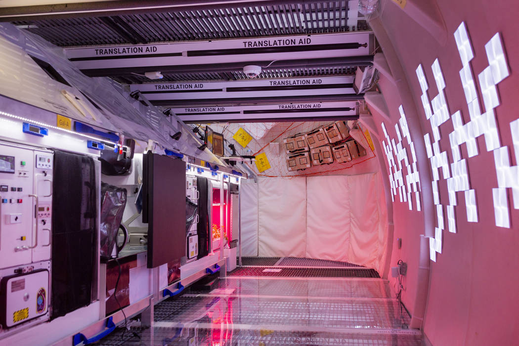 The kitchen on the B330 Mars Transporter Testing Unit at Bigelow Aerospace in North Las Vegas o ...
