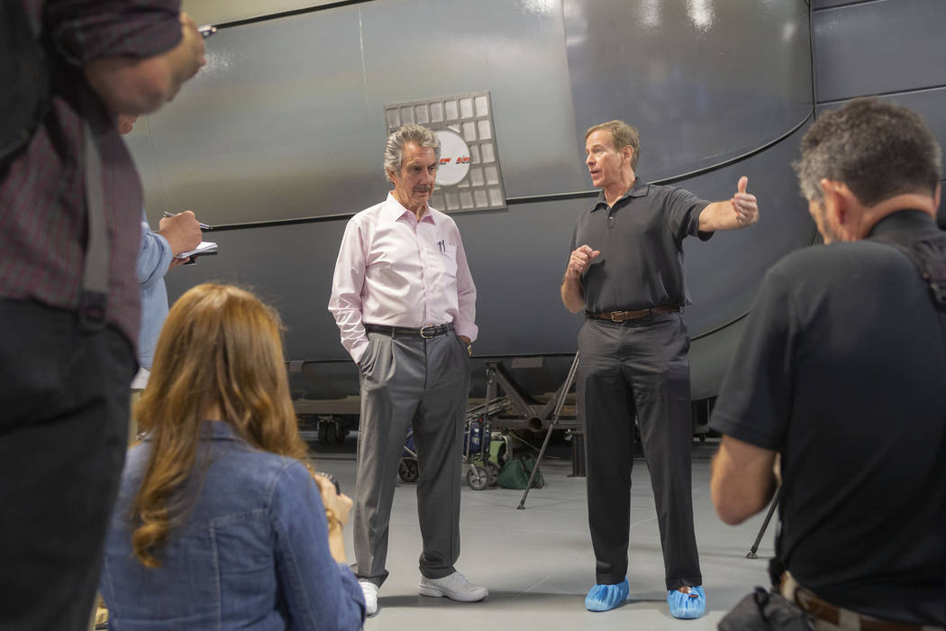 Owner of Bigelow Aerospace Robert Bigelow, left, and Michael Gernhardt, NASA astronaut and prin ...