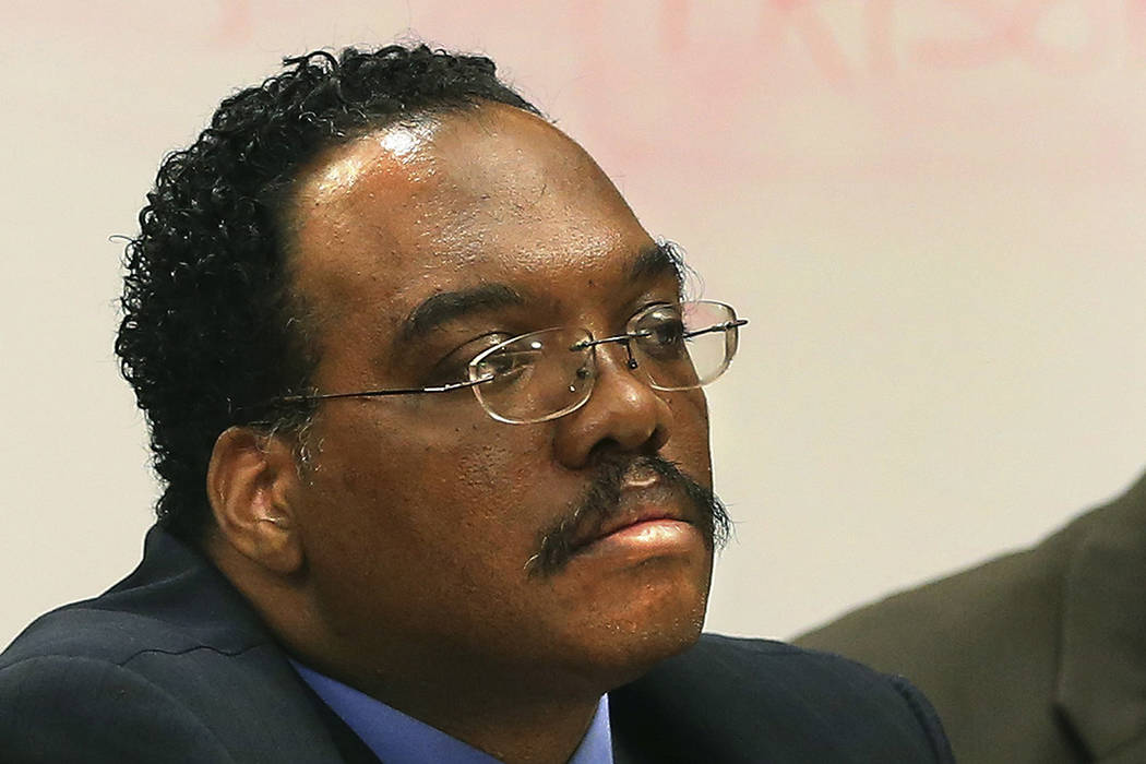 FILE - In this Aug. 21, 2014 file photo, Cuyahoga County Common Pleas Judge Lance Mason listens ...