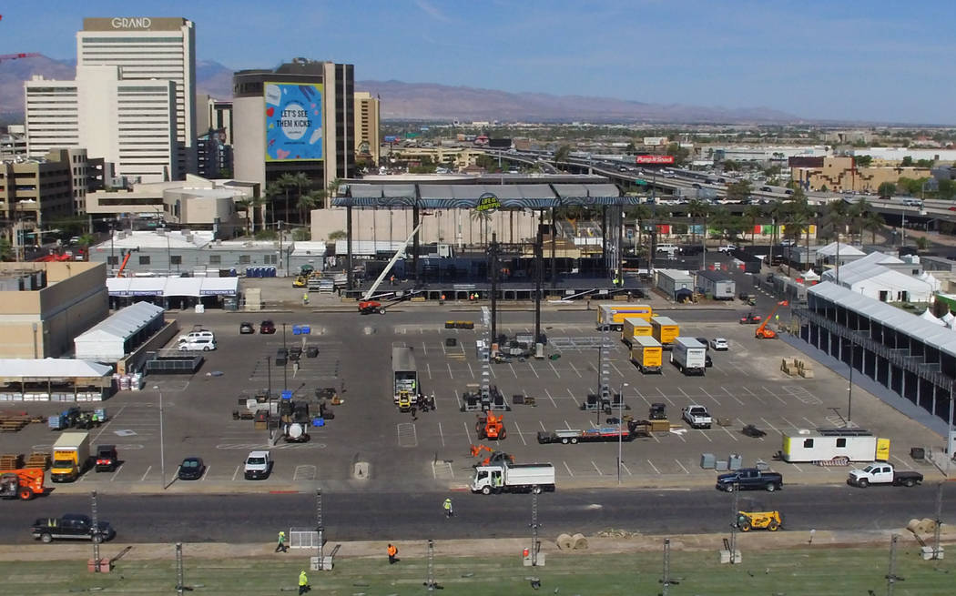 Preparations are underway for Life Is Beautiful on Tuesday, Sept. 17, 2019, in downtown Las Veg ...