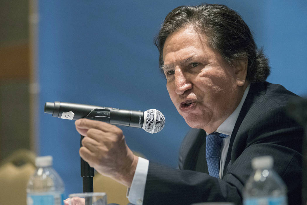 FILE - In this May 24, 2017 file photo, Peru's former President Alejandro Toledo speaks at the ...