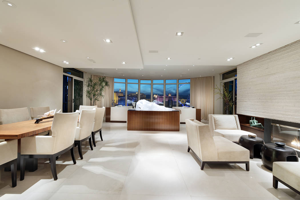 The living room features views of the Las Vegas Strip. (Ivan Sher Group)