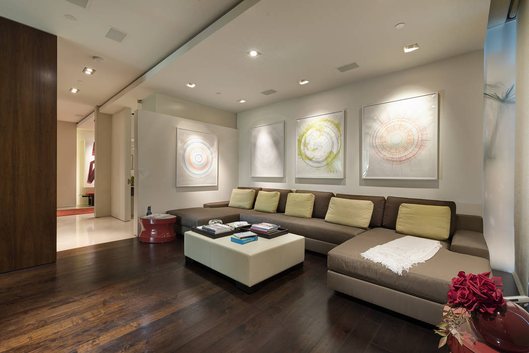 The media room features comfortable seating. (Ivan Sher Group)