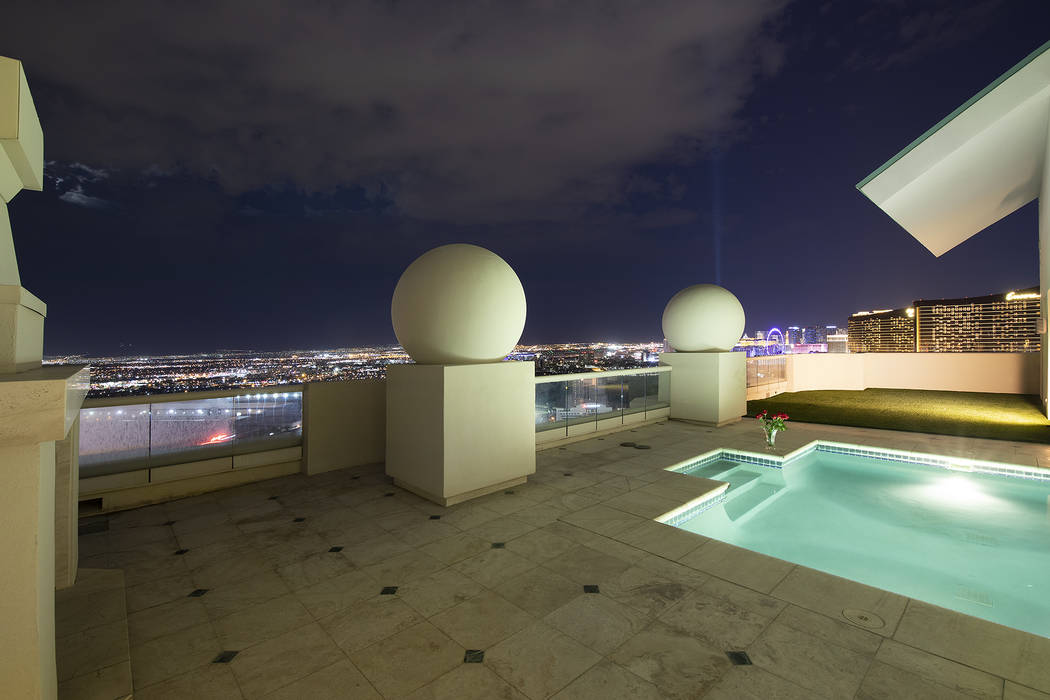 The pool area is on the patio of the Turnberry Place penthouse. (Berkshire Hathaway HomeServices)