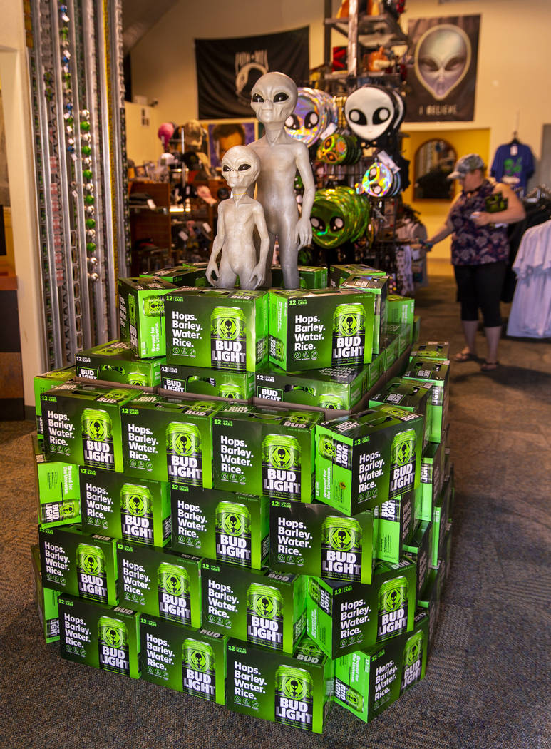 Cases of limited-edition Bud Light alien cans are available at the Alien Research Center on Wed ...